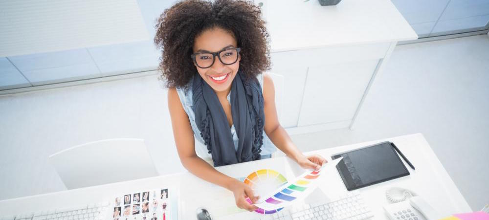 graphic designer selecting colors
